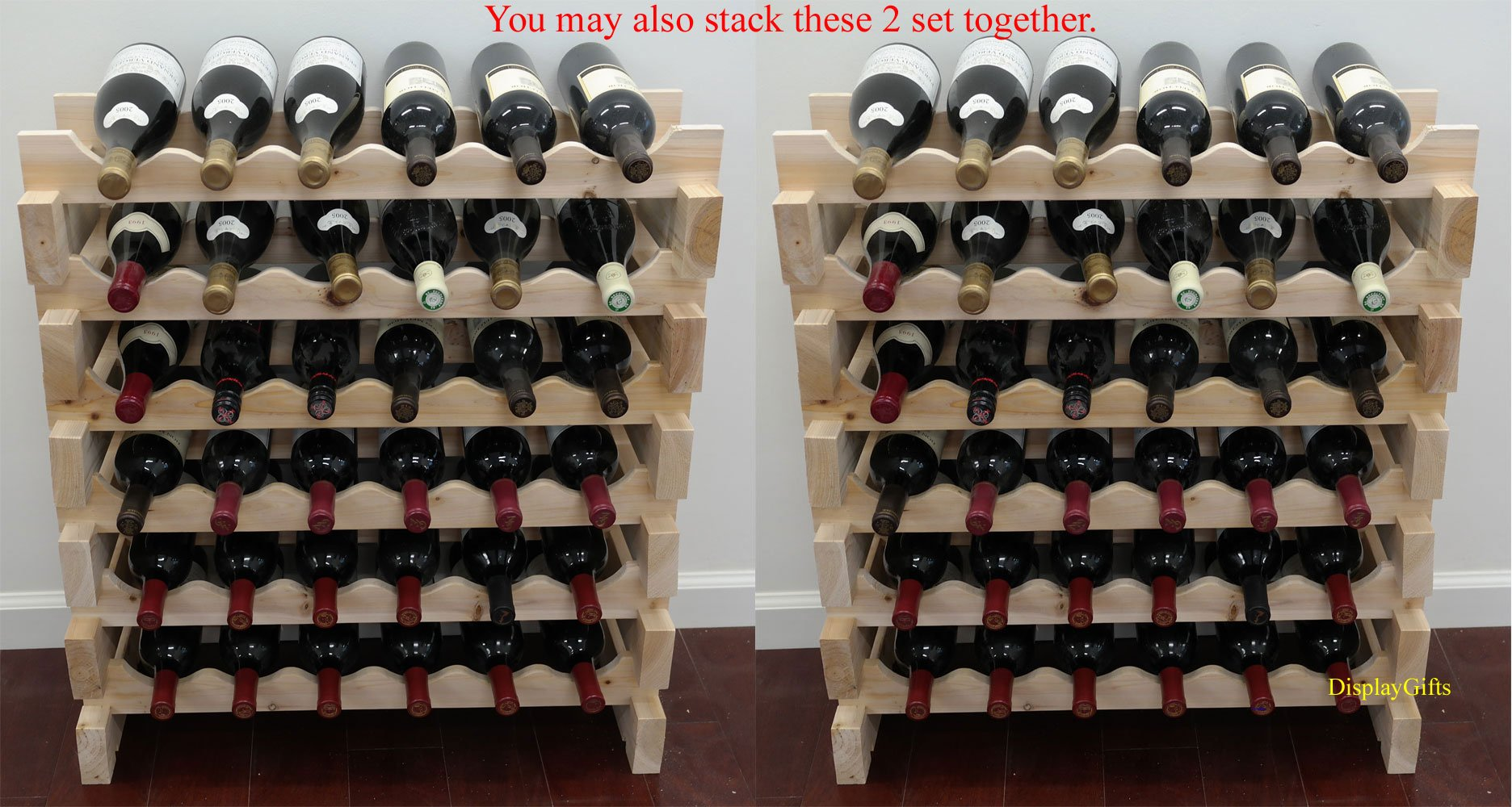 Stackable Storage Wine Rack Stand, Wobble-Free, 72 Bottle Capacity, 6 X 12 Row by DisplayGifts (Image #2)