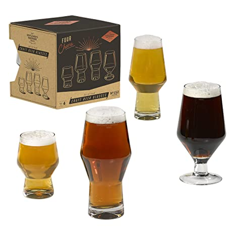 36ed3b14f74 Image Unavailable. Image not available for. Color  Gentlemen s Hardware  AGEN152 4-Piece Craft Beer Glasses Set ...