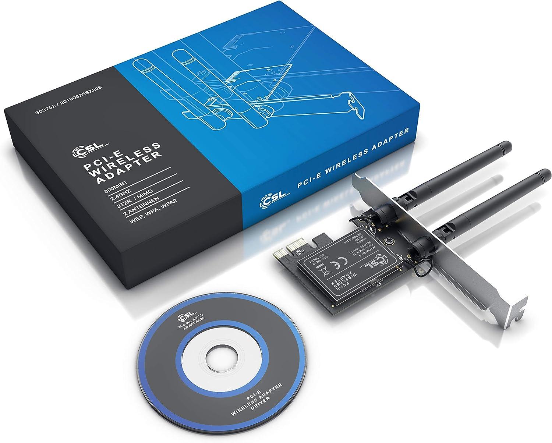 WiFi Compatible con Windows 8 8.1 10 Cifrado WEP WPA WPA2 2x2 MIMO 2 Antenas 2dbi externas CSL Tarjeta de Red Tarjeta adaptadora WLAN 2,4 GHz para PCIe Compacto para instalaci/ón en PC