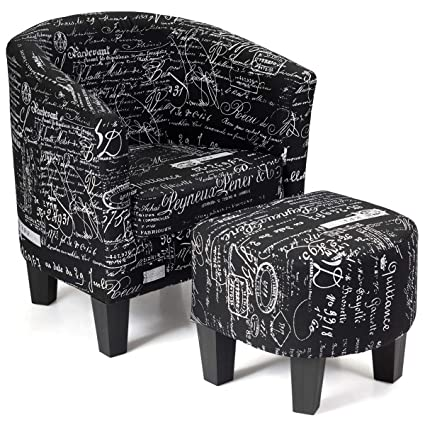 Pleasant Costway Armchair And Ottoman Stool With Script Pattern Accent Chair Furniture Set Linen Fabric Soft Sponge Firm Wood Frame Ideal For Living Room Inzonedesignstudio Interior Chair Design Inzonedesignstudiocom