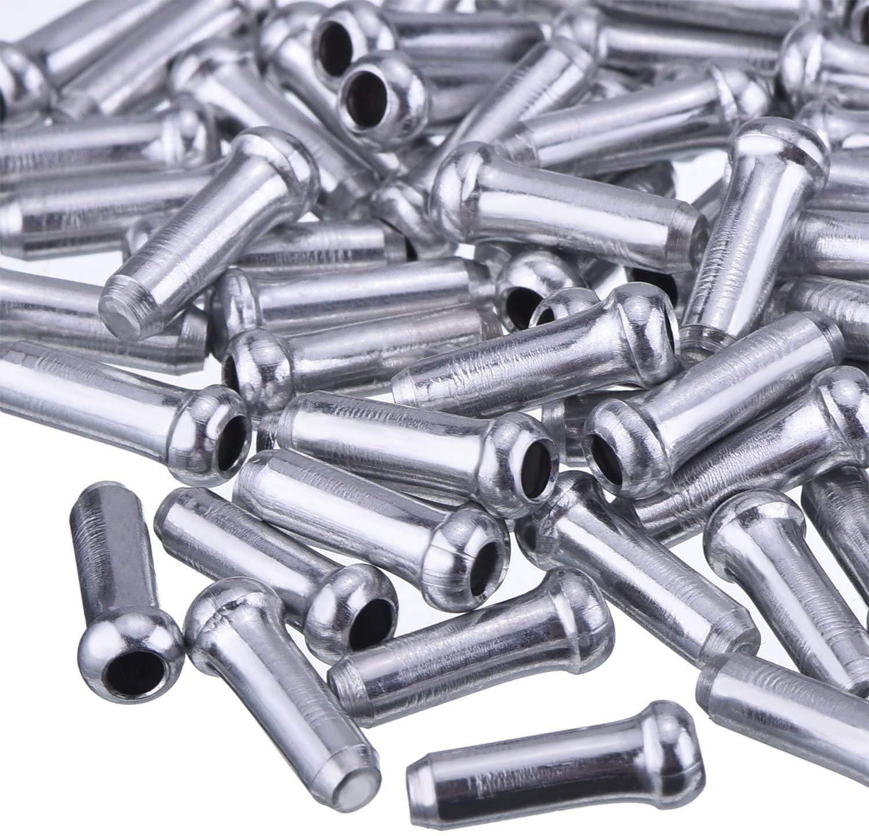 Embouts de C/âble de Frein,100 PCS Casquettes de C/âble de Frein de V/élo en Alliage Aluminium Embouts de C/âble Int/érieur pour V/élo de Route et V/élo de Montagne Argent