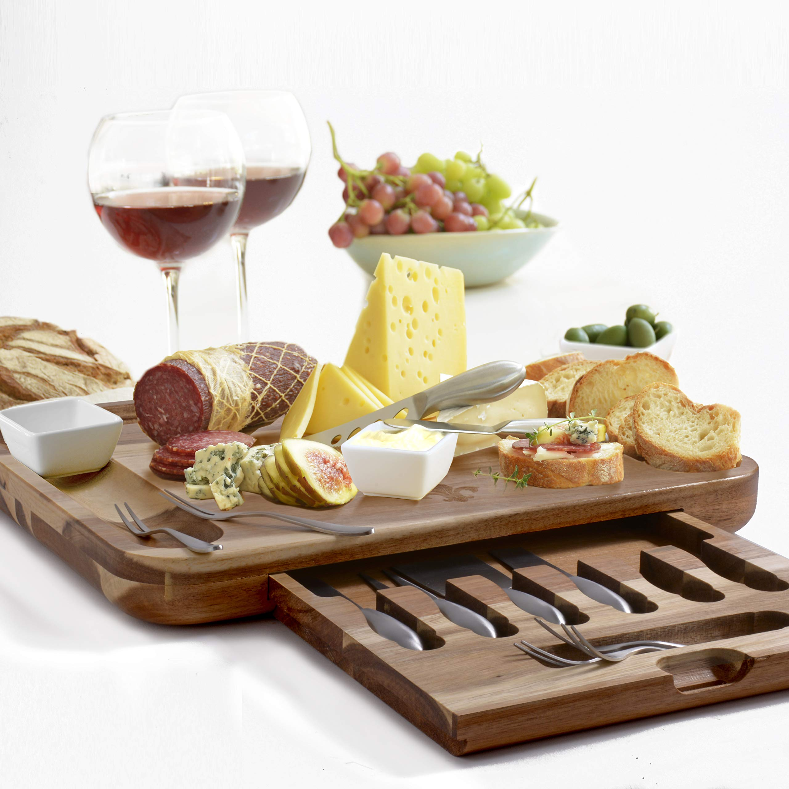 Exquisite Cheese Board & Utensils Gift Set - Extensive Serving Set -X- Large Bamboo Board & 6 Stainless Steel Cheese Knives & 6 Appetizer Forks & 3 Ceramic (Acacia, with ceramic dishes) by Elite Creations
