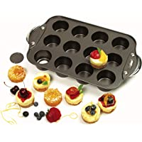 Norpro 3919 Nonstick Mini Cheesecake Pan with Handles, 12 Count Black 14 x 8 inch