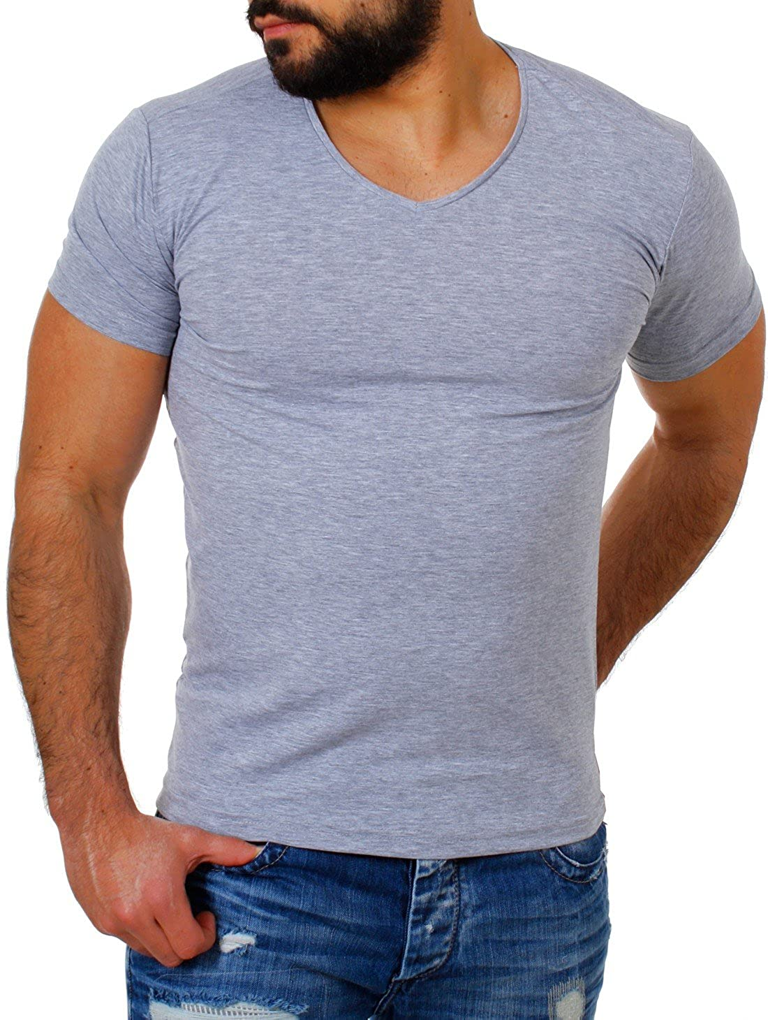 3a010b961e8a Young  Rich Herren V-Ausschnitt T-Shirt einfarbig körperbetont mit Stretchanteilen  Uni Basic