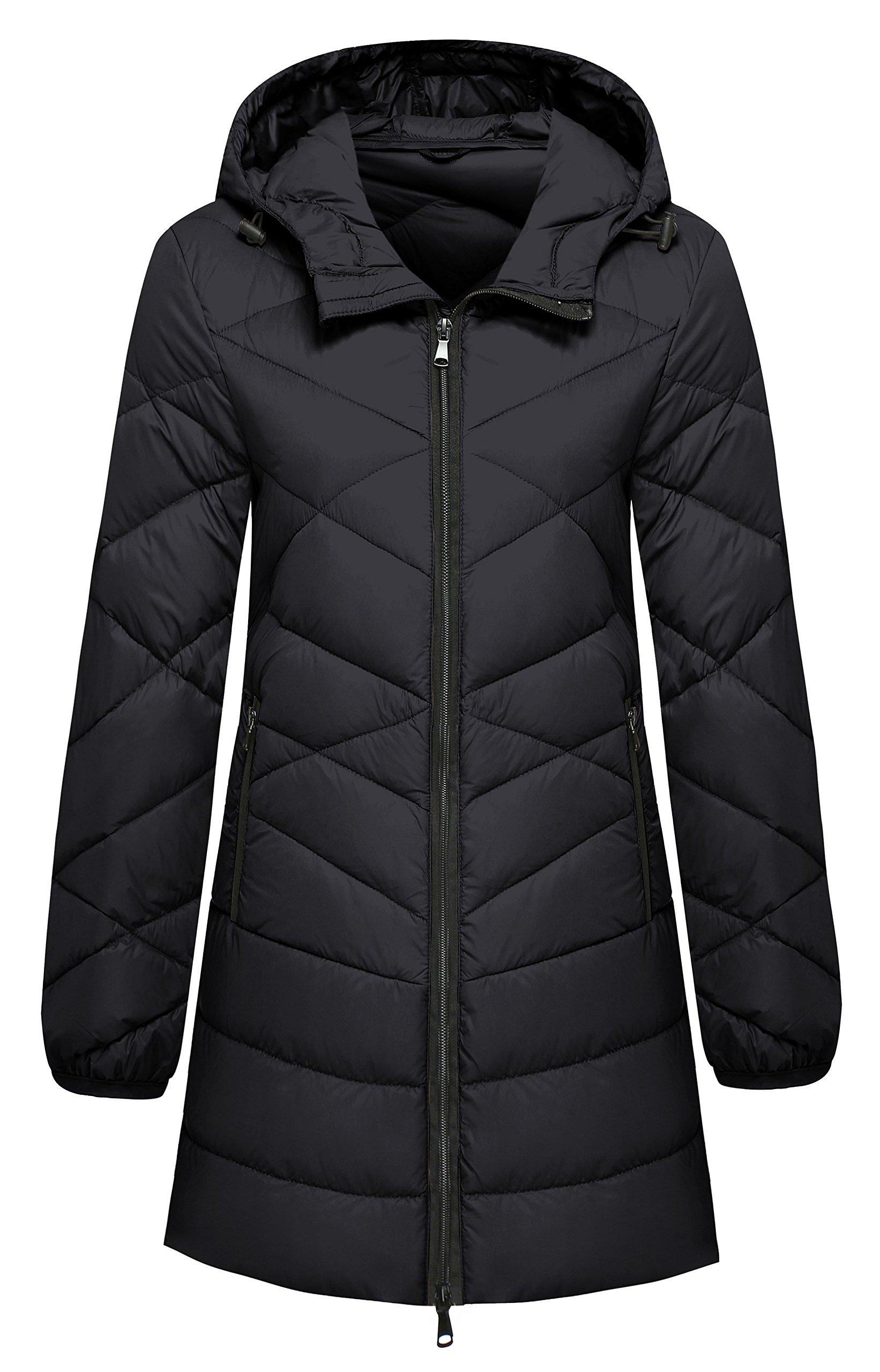 Wantdo Women's Hooded Packable Lightweight Long Down Coat, Black, Small