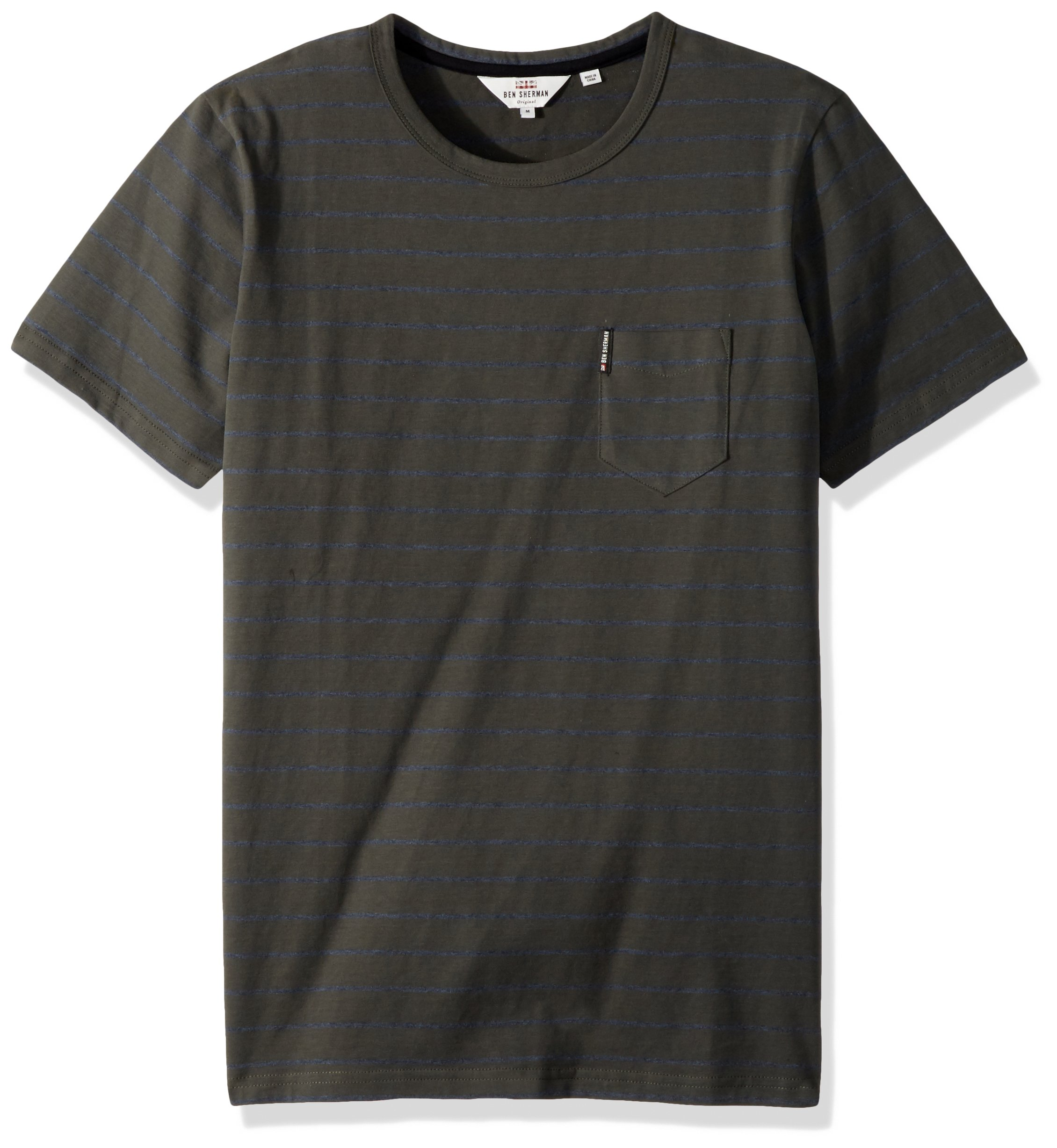 Ben Sherman Men's Fine Stripe Crew Tee, Peat, XL