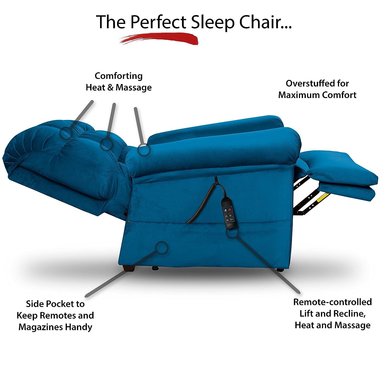 Perfect Sleep Chair - Lift Chair & Medical Recliner – DuraLux II Microfiber  - Indigo (Blue)