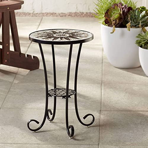 Teal Island Designs Sunburst Mosaic Black Outdoor Accent Table