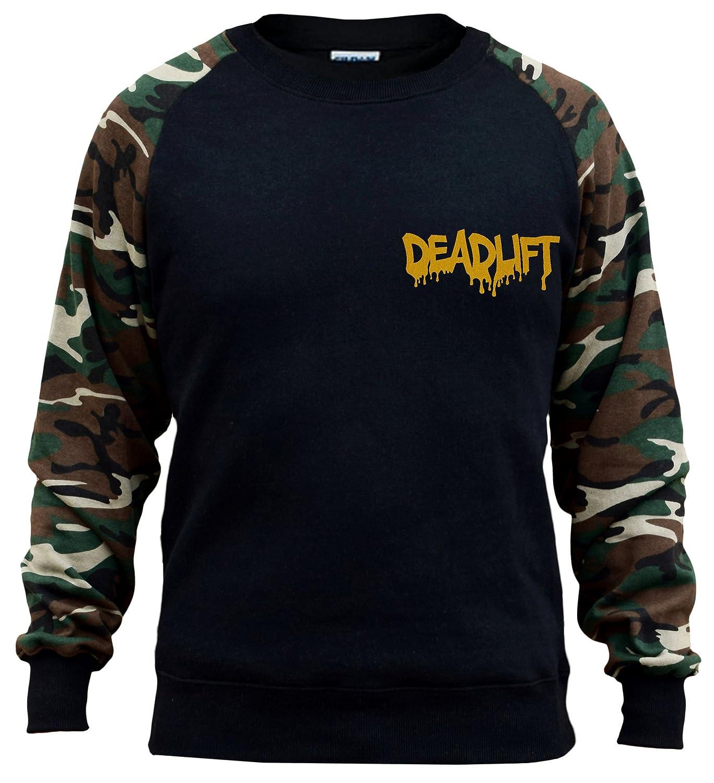 Interstate Apparel Mens Gold Dripping Deadlift Chest V170 Black//Camo Raglan Baseball Sweatshirt Black
