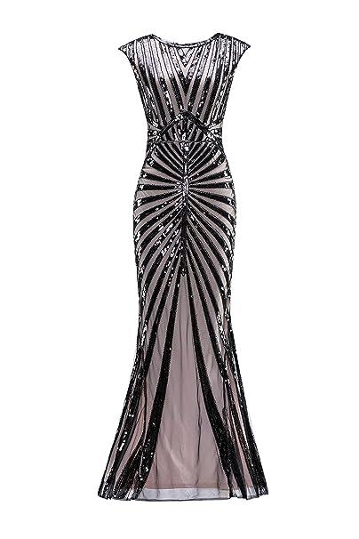 Metme Mujeres 1920s Vintage Prom Flecha Lentejuela Larga Aleta Rugido Gatsby Vestido para Fiesta agraciado Maravilloso