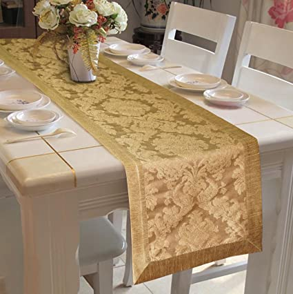 Lushomes Gold Jacquard Runner with Polyester Border