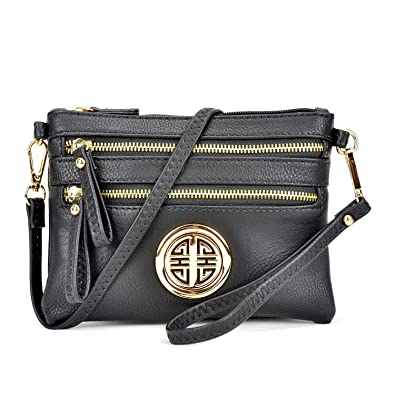 6c2d9ead0b6e55 Multi Pockets Crossbody Bags Lightweight Shoulder Purses Messenger Bags  Vegan Leather Handbags Shoulder Strap: Handbags: Amazon.com
