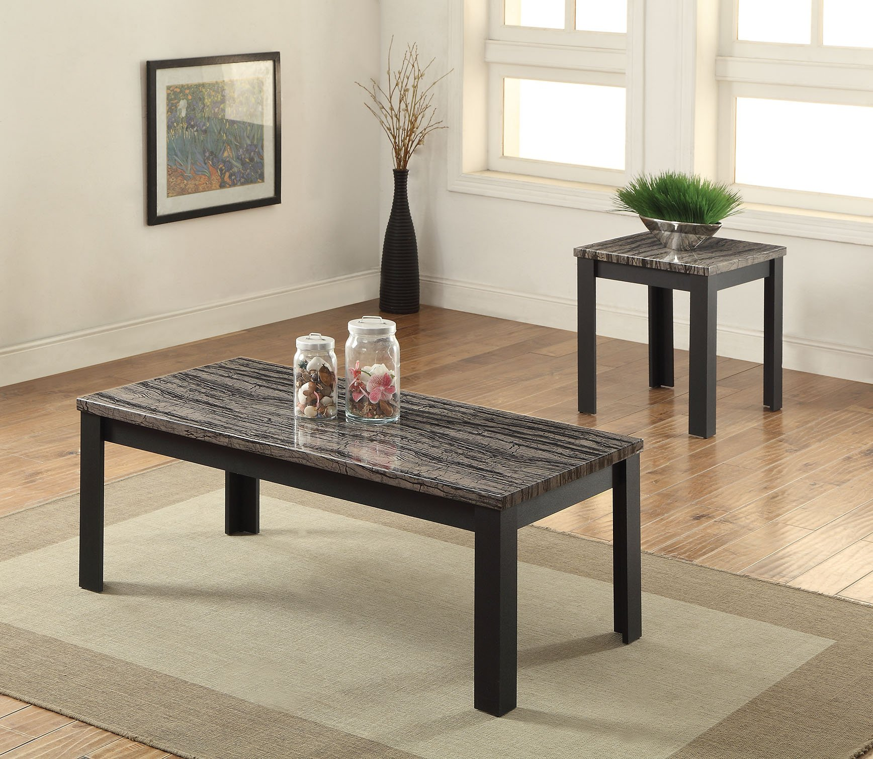 Acme 2 Piece Arabia Coffee/End Table Set, Faux Marble & Black by Acme Furniture