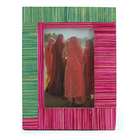 Amazon.com - NOVICA Bollywood Photo Frame Elm Wood Pink and Green ...