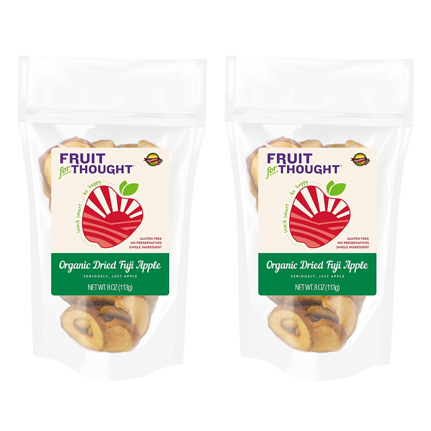 USA Grown Organic Dried Fuji Apple Slices 8 Ounce Bag (Pack of 2) - Seriously Just Fuji Apples, No Added Sugar, No Preservatives - Organic Dried Apples Multi-serving Bag Bundle
