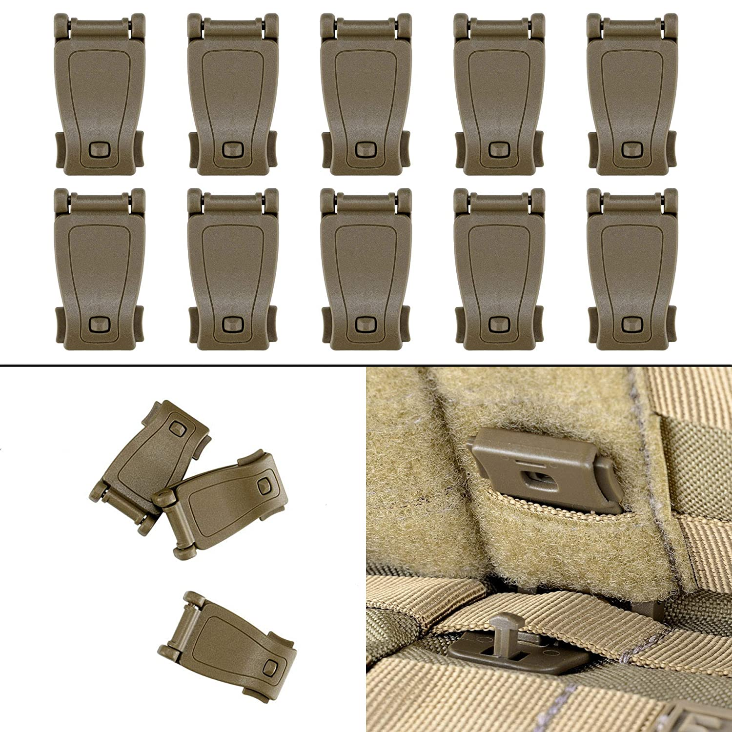 BOOSTEADY Kit of 30 Attachments for Molle Bag Tactical Backpack Vest Belt,D-Ring Grimloc Locking Gear Clip Web Dominator Elastic Strings Strap Management Tool Buckle