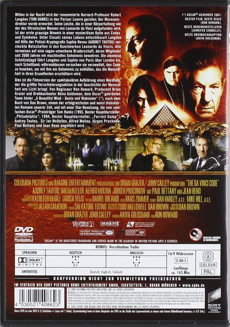 The Da Vinci Code - Sakrileg (Einzel-DVD): Amazon.de: Tom Hanks, Audrey  Tautou, Ian McKellen, Paul Bettany, Alfred Molina, Ron Howard: DVD & Blu-ray