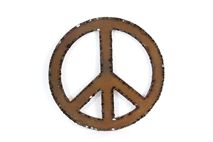 Country Chic Recycled Glass Peace Sign Rustic Home Decor Repurposed Wall Art