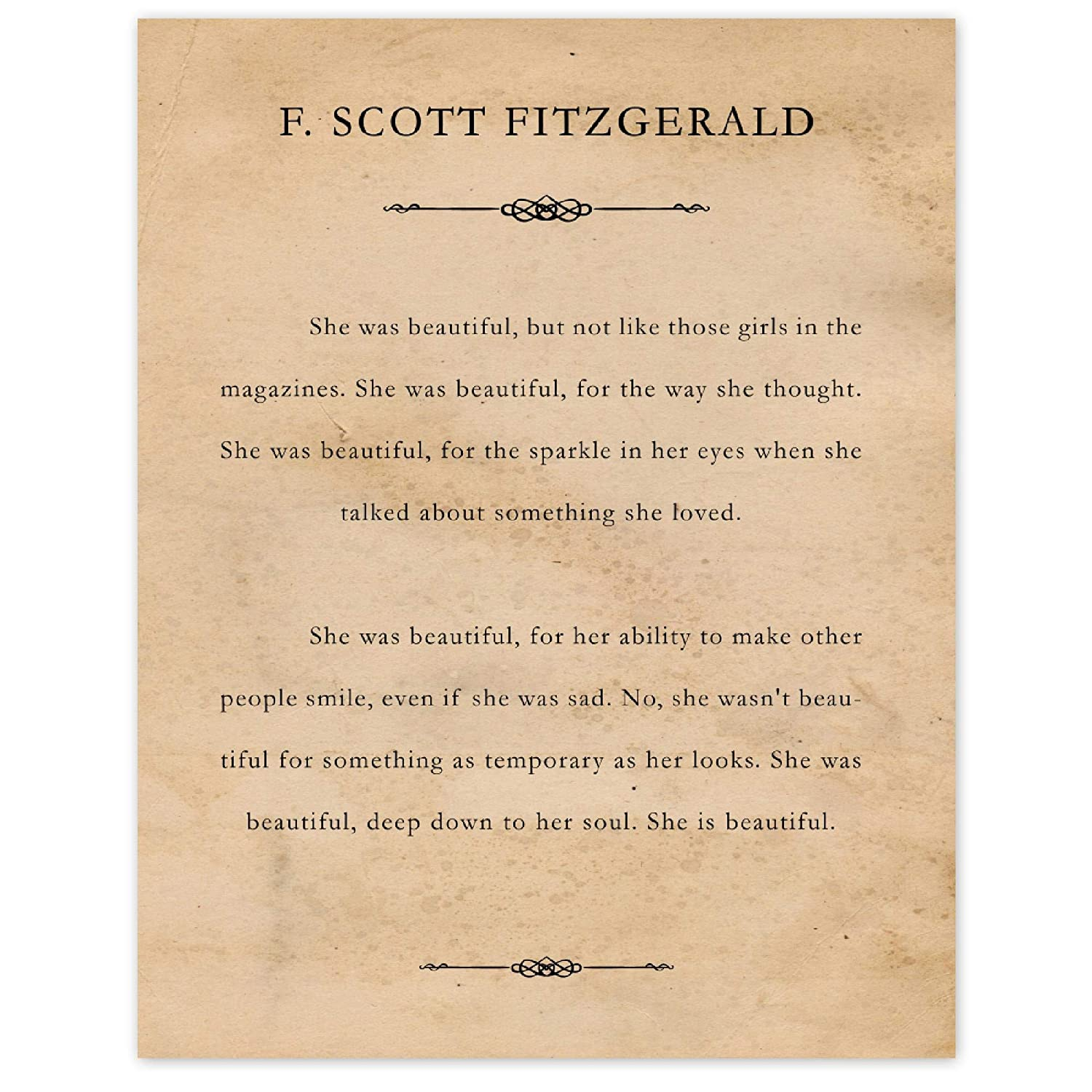 F Scott Fitzgerald She Was Beautiful 11x14 Unframed Typography Book Page Poster Print, Great Wall Art Book Quotes Decor Gifts Under 15 for Home, Office, Garage, Library, Student, Teacher, Fan