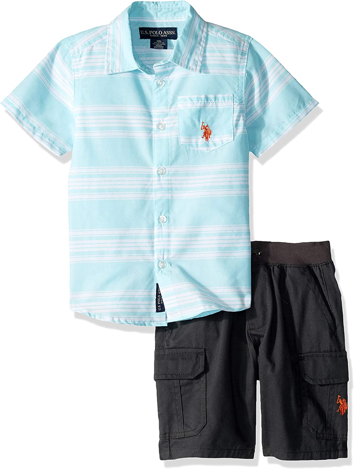 Boys 3 Piece Short Sleeve Woven Henley T-Shirt U.S and Jogger Set Polo Assn