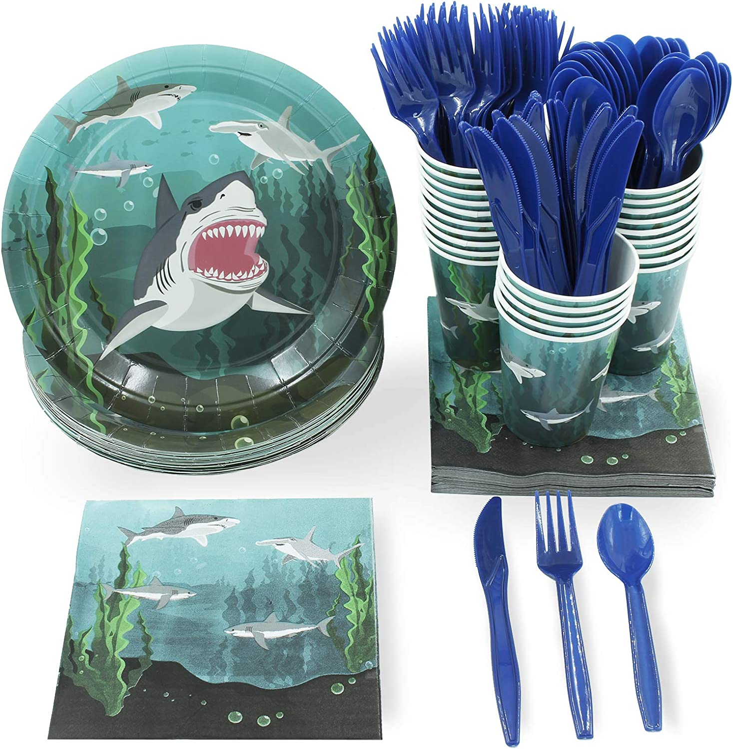 Shark Splash Birthday Party Supplies Pack For 16 Guests 24 Paper Straws Dinner P