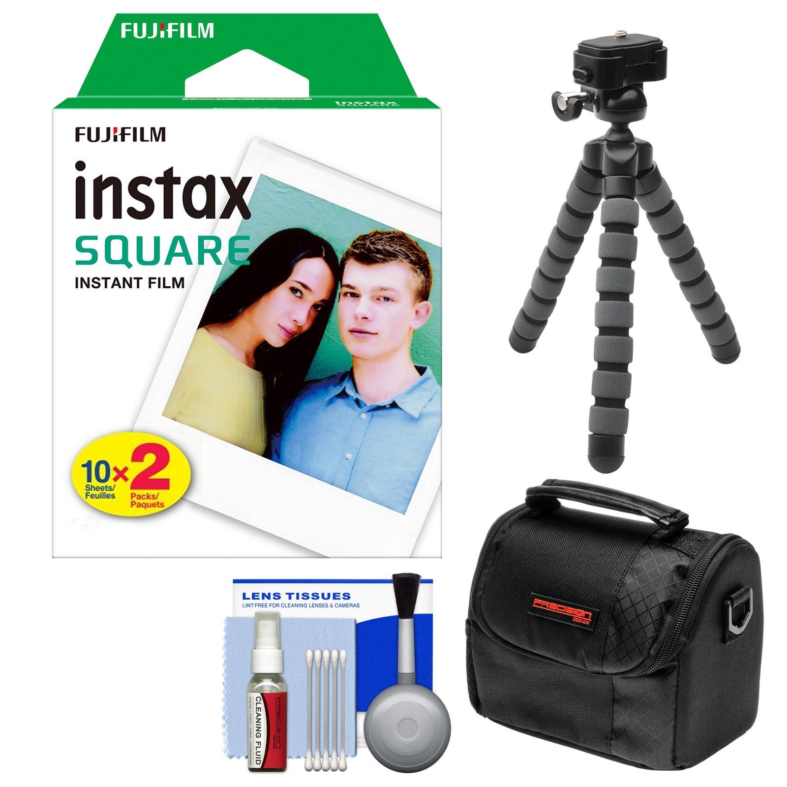 Fujifilm Instax WW1 Square Twin Instant Film (20 Color Prints) with Case + Tripod + Kit for SQ6 & SQ10 Cameras
