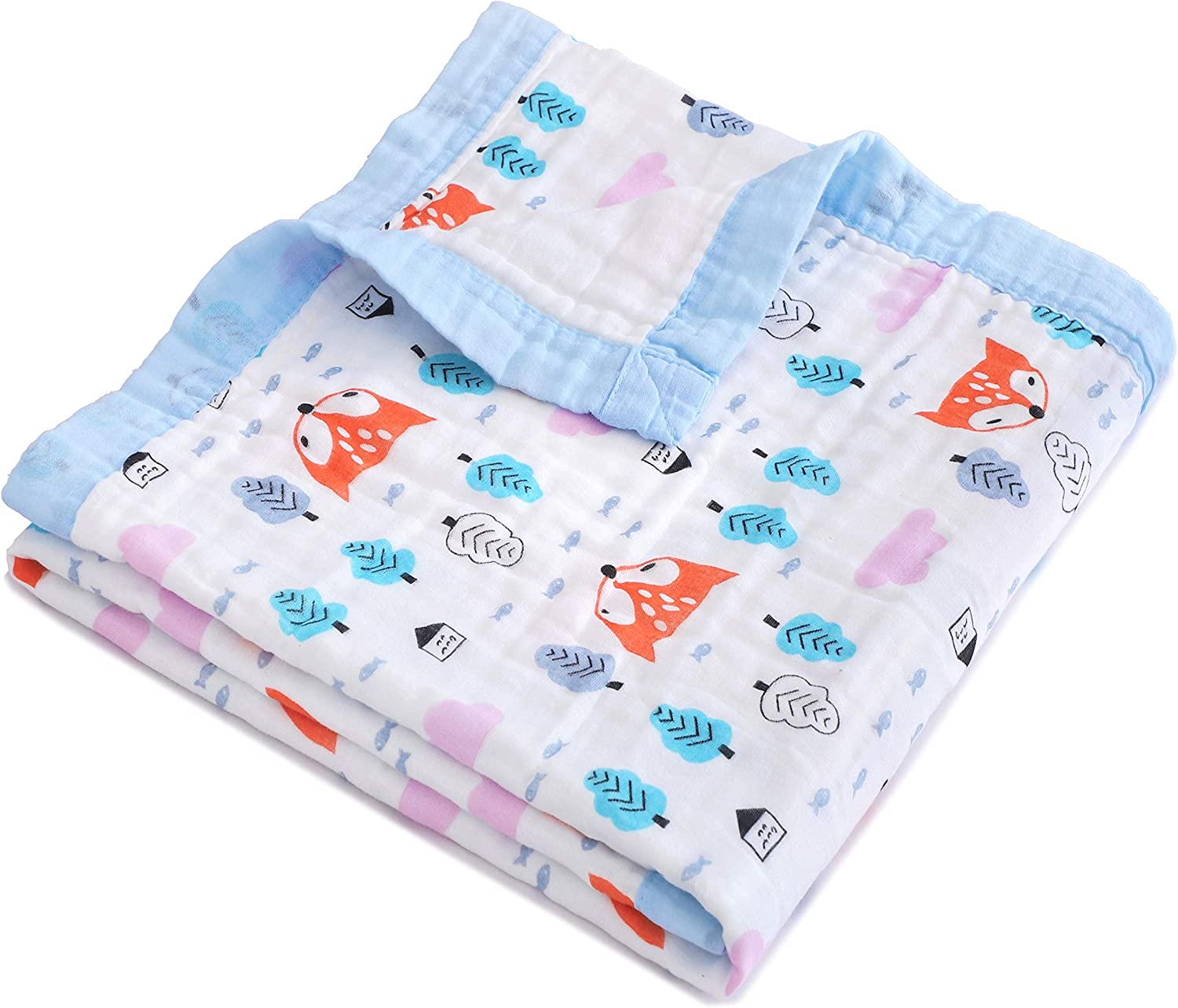 Jay & Ava Baby Muslin Blanket, Organic Cotton, 4 Layers, Soft, Hypoallergenic, Breathable Quilt, Nursery & Crib Blanket, Stroller Blanket for Toddler, Perfect (Orange Fox)