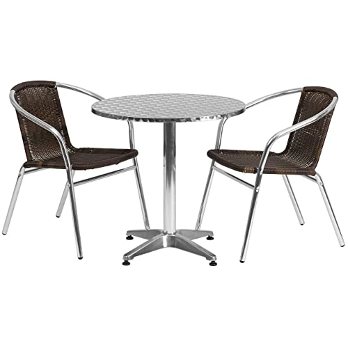 Flash Furniture 27.5 Round Aluminum Indoor-Outdoor Table Set with 2 Dark Brown Rattan Chairs