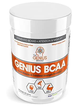 Genius BCAA Powder Nootropic Amino Acids Muscle Recovery Drink Natural Vegan Energy BCAAs for Women Men Pre, Intra Post Workout Natural Brain Boost Focus Supplement, Grape Limeade,287
