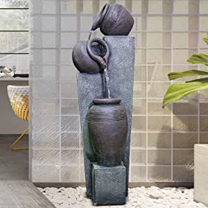 """Brafab Outdoor 3-Tier Jugs Pots Floor Rock Water Fall Sphere Fountain with Yellow LED Lights for Patio Yard Garden Lawn-39.37"""""""