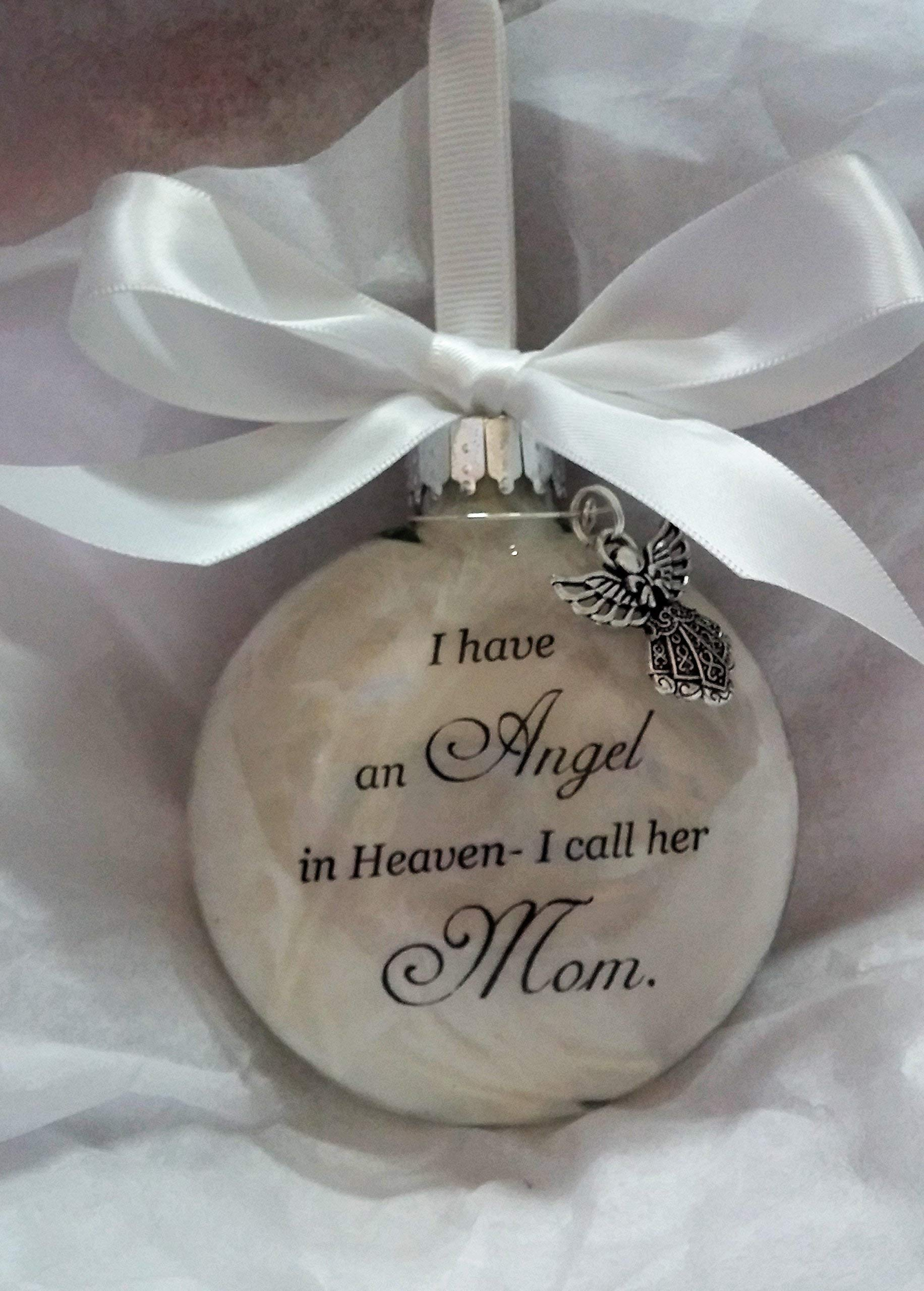 Memorial Christmas Ornament Sympathy Gift - Angel in Heaven I Call Her Mom by The Creative Canvas