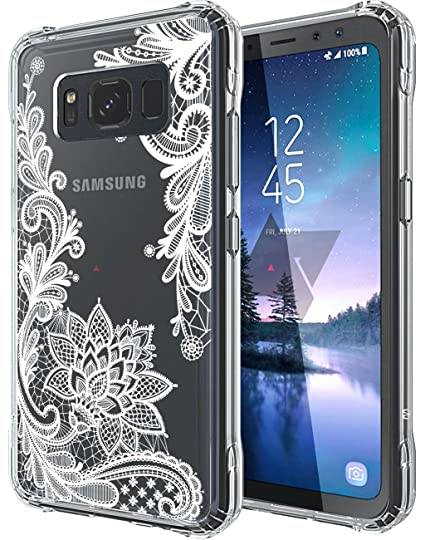 first rate 2498c 8d706 Galaxy S8 Active Case, SWODERS Flower Clear Design Shock Absorbing TPU +  Hard PC Bumper Case For Samsung Galaxy S8 Active (SM-G892) - White