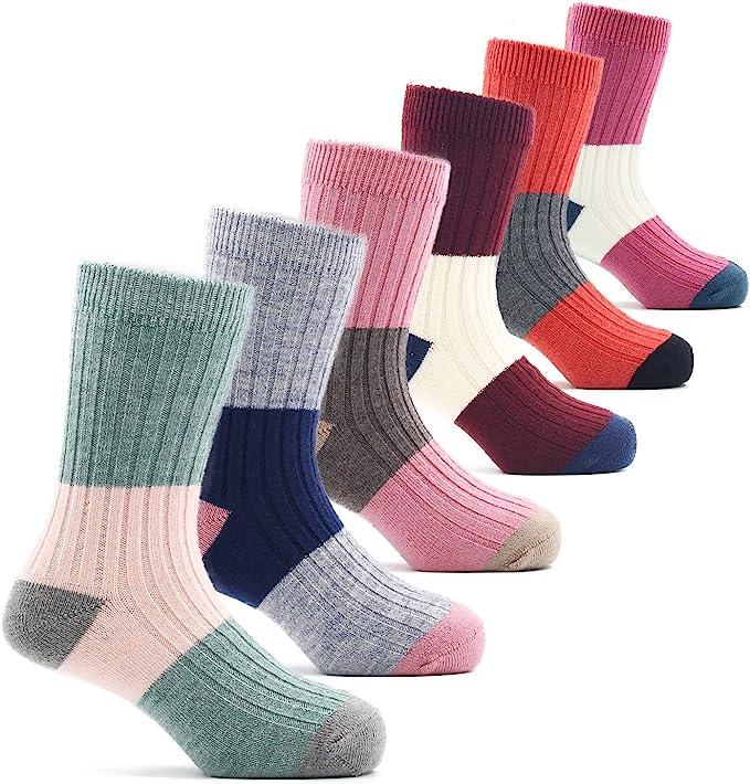 Little Girls Wool Socks Kids Crew Seamless Winter Warm Socks 6 Pack 3-5 Years
