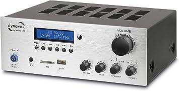 Dynavox Stereo Kompakt-Verstärker VT-80 MK, 4 schraubbare Altavoz-Anschlüsse, Mando a Distancia para Digital-Eingänge (USB, SD-Card), integrierte ...