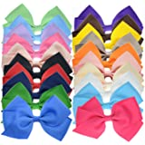 20 Bulk Ribbon Hair Bows For Girls Pure Color 4.5 Inch Giftbox Pack LCLHB