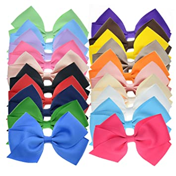 6 Set School Hair Clip Navy Blue Girls Kids Small Bows Ribbon Uniform