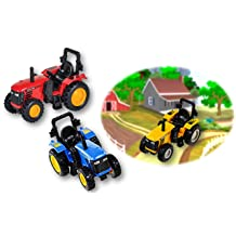 "PlayO Pull Back Farm Tractor 3.75"" - Kids Die Cast Pull-Back Vehicle - 1 Tractor"