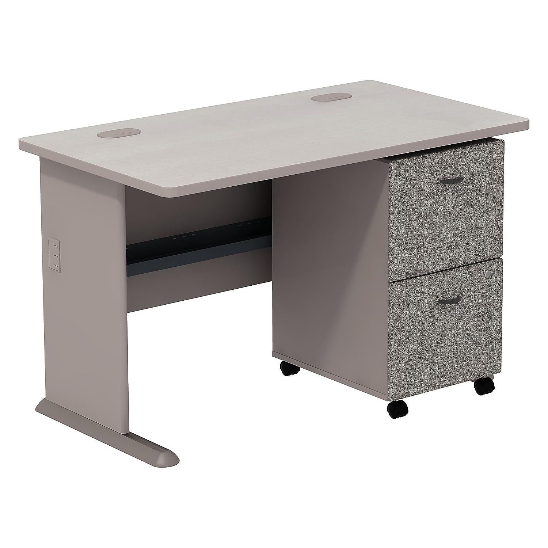 Bush Business Furniture Series A 2 Drawer Mobile Pedestal Desk, 48 , Pewter