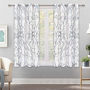 Curtains Semi Sheer Window Curtains Tree Branches Drapes Linen Panels Grommet Window Curtains for Bedroom, Living Room, Laundry, Nursery 50 × 63 Inches 2 Panels White Blue and Gray