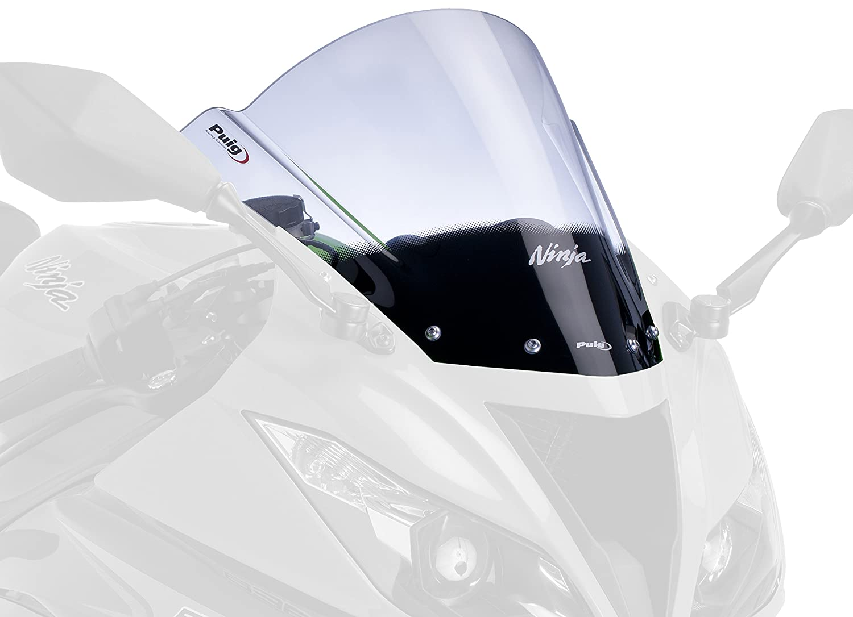 Puig 6482F Racing Screen for Kawasaki ZX-6R 2009-2014/ ZX-6R 636 2013-2014/ ZX-10R 2008-2010, Dark Smoke, Medium Motoplastic S.A.