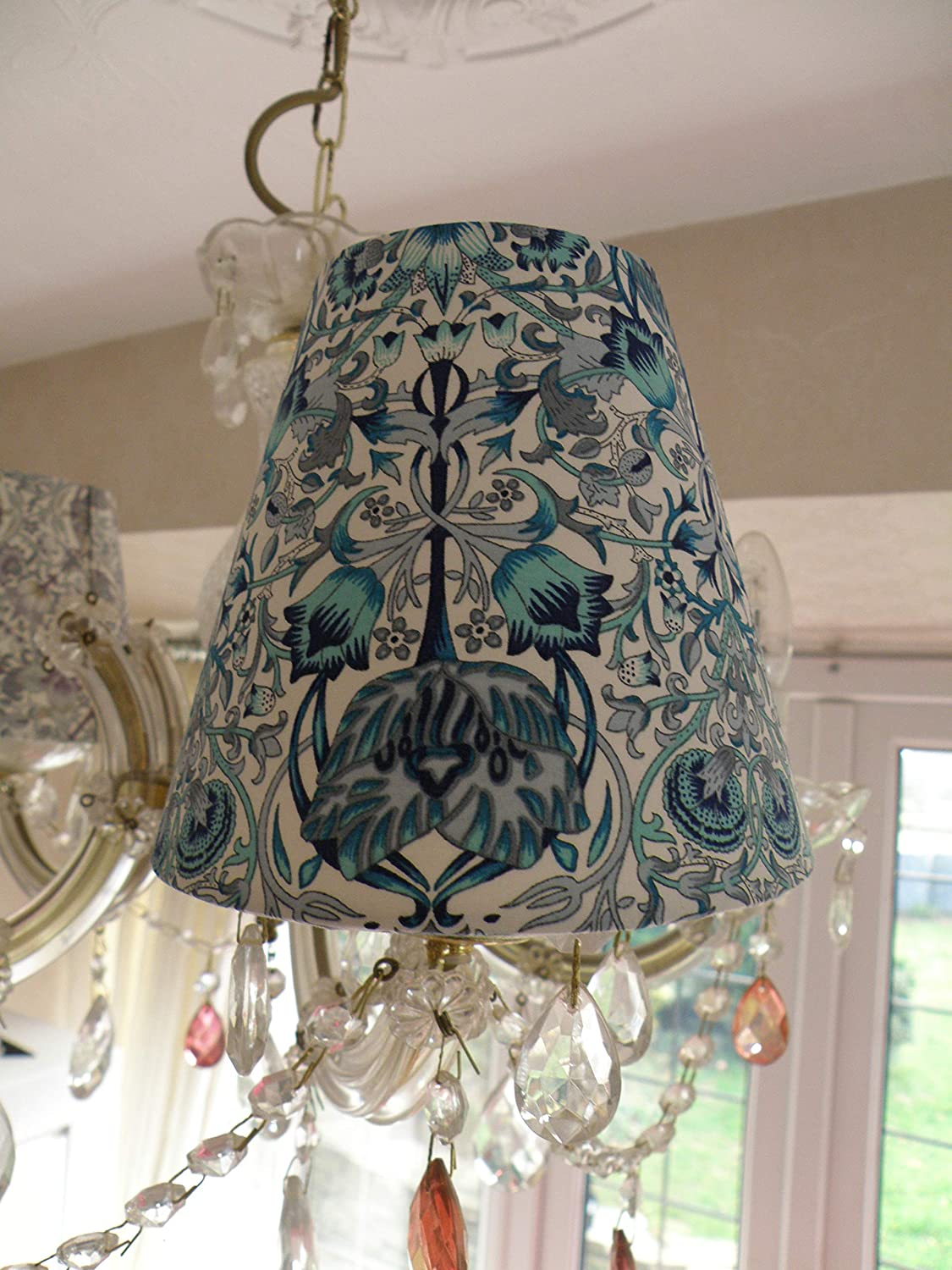 Bespoke Candle Clip Lampshade in Art Deco Blue Pima Cotton Lawn John Lewis Fabric