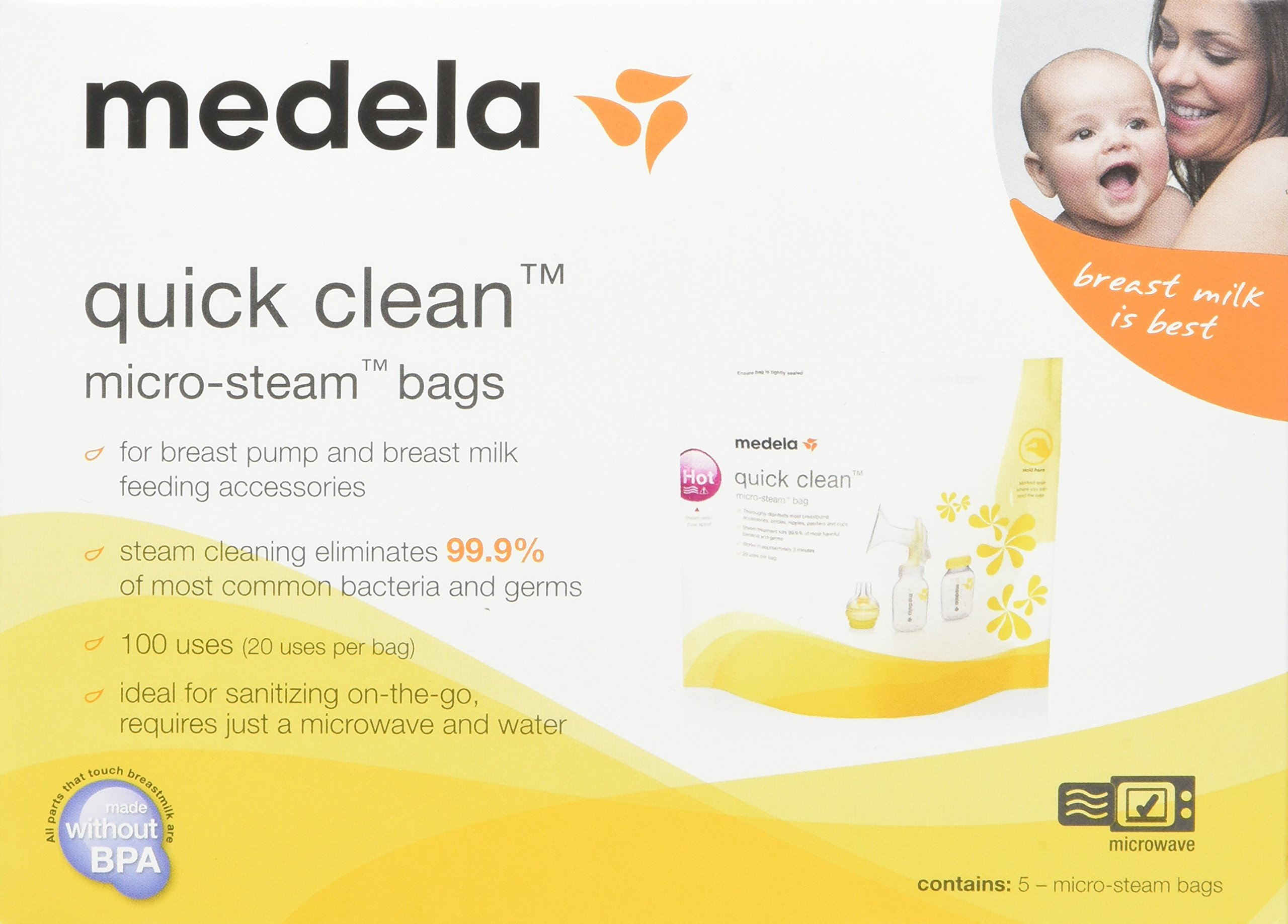 Medela Quick Clean Micro-Steam Bags Economy Pack of 4 retail boxes (20 Bags Total)