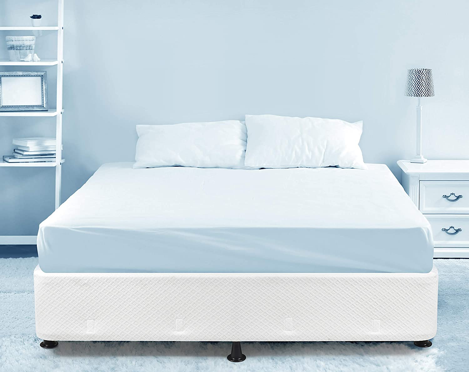 Milliard Box Spring Frame Twin Size High Profile Mattress Foundation Metal Structure, Can Be Used with or Without Included Legs or Directly on Bed Frame Twin
