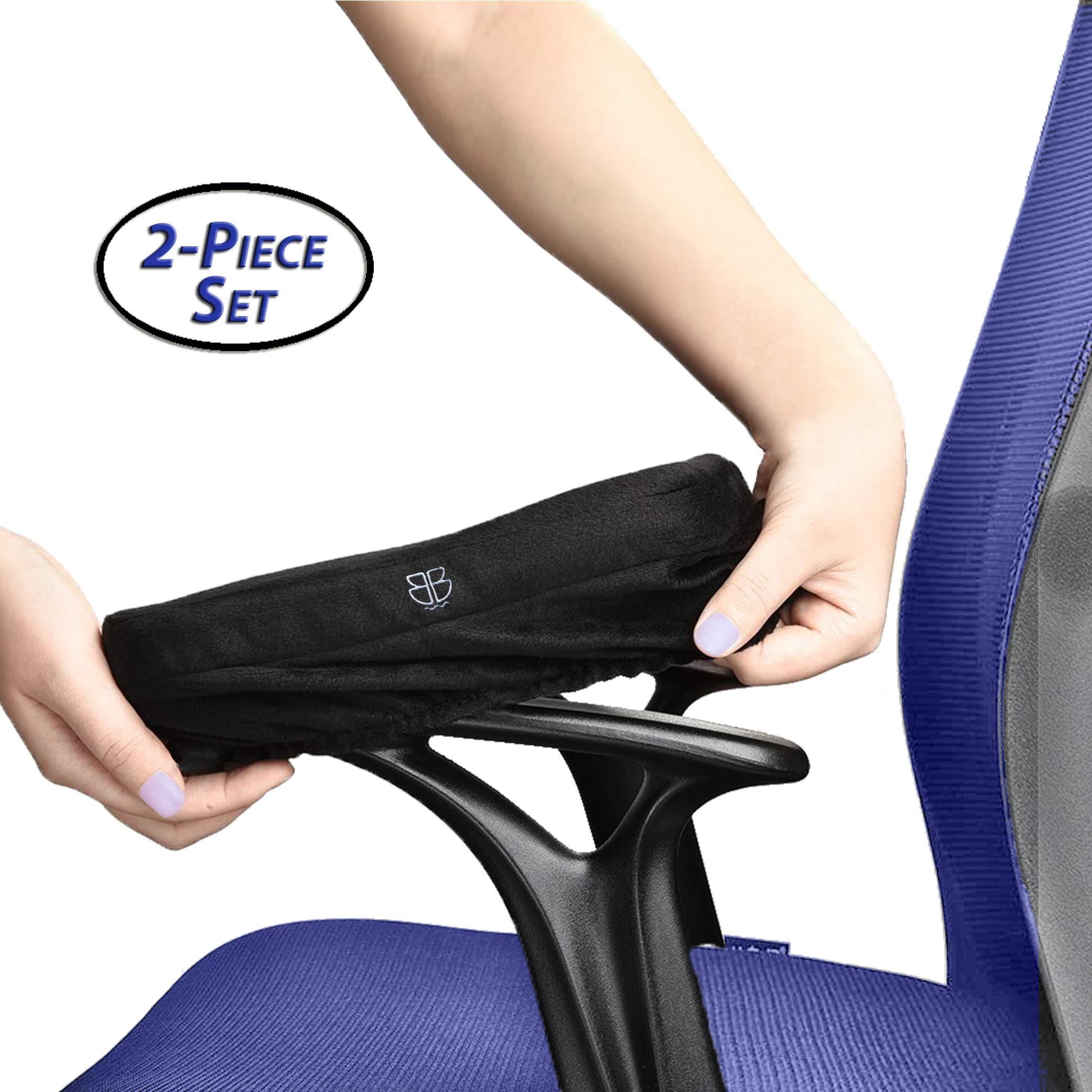 Armrest Pads: Ergonomic Memory Foam High Density Anti-Slip Arm Rest Covers. Jumbo Computer Elbow Cushion Arm Pads. Universal - Office, Gaming, Wheelchair. Relieves Forearm Pain Fatigue. 2PC Set