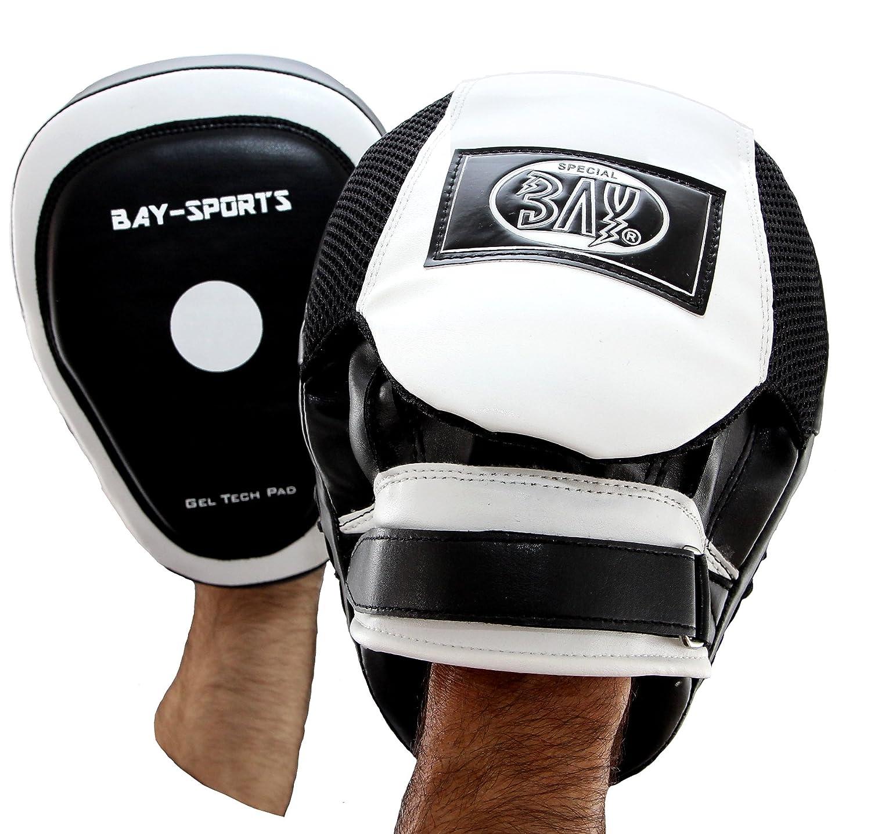 BAY® 2 Pratzen ERGO LEDER PU Handpratzen Pratze Boxen Kickboxen Muay Thai schwar