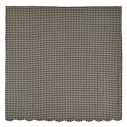 Amazon VHC Brands Navy Check Scalloped Cotton Shower Curtain In