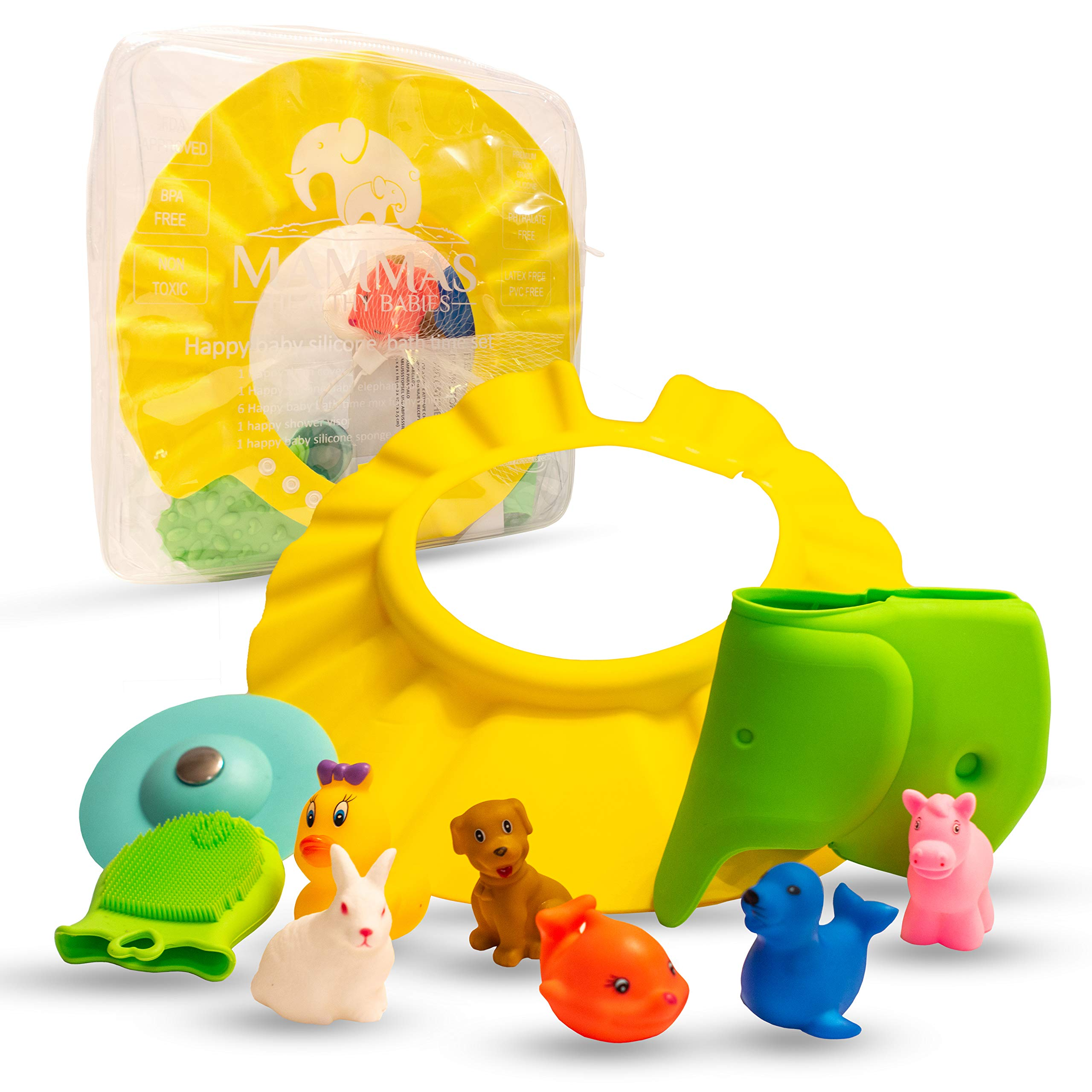 Baby Shower Gift Set for Bathtime - Fun and Vibrant 10 Pc Gifts; 6 Bath Toys, Bathing Cap, Spout Cover, Drain Cover, Organic Silicone Sponge and Case
