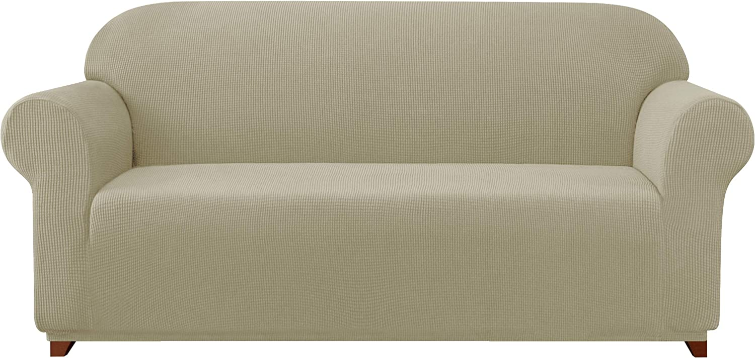 Subrtex Sofa Cover 1-Piece Stretch Couch Slipcover Soft Couch Cover Loveseat Slipcover Armchair Cover Furniture Protector Machine Washable(Large, Sand)