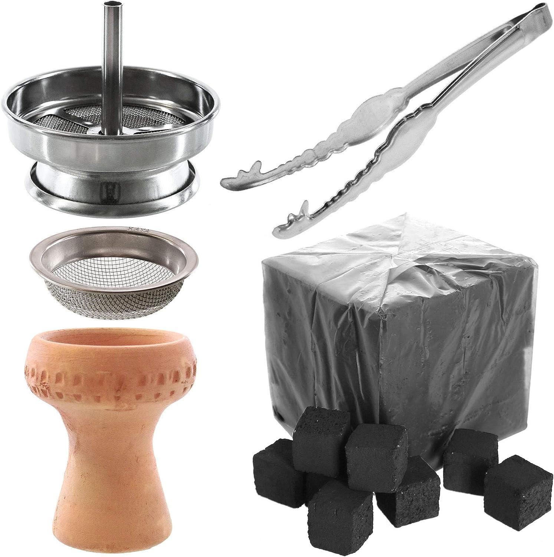 Kaya Shisha - Chimenea para shisha, filtro para shisha, pinzas para carbón de acero inoxidable, cabezal de barro para shisha, 1 kg de carbón para shisha