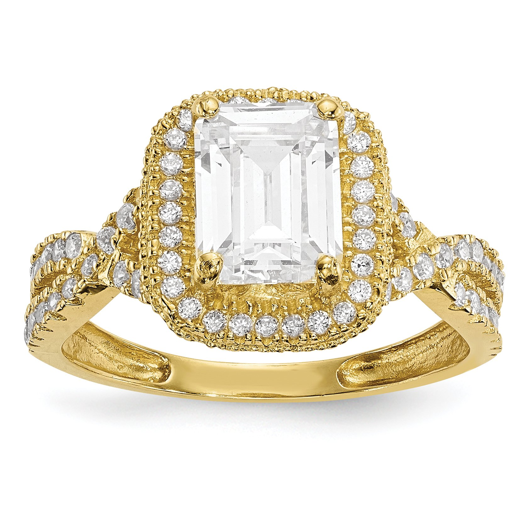ICE CARATS 10k Yellow Gold Tiara Collection Cubic Zirconia Cz Band Ring Size 7.00 Yc Fine Jewelry Gift Set For Women Heart